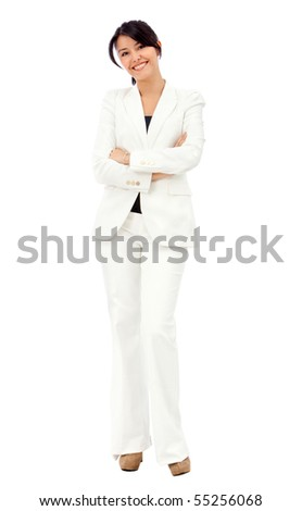 Business woman standing isolated over a white background - stock photo