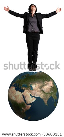 business woman standing on an earth globe on white background