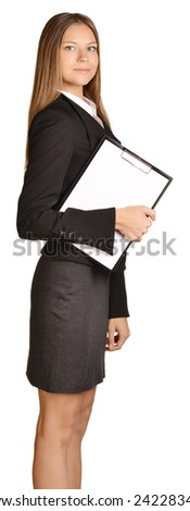 Business woman standing sideways and holding in hand clipboard