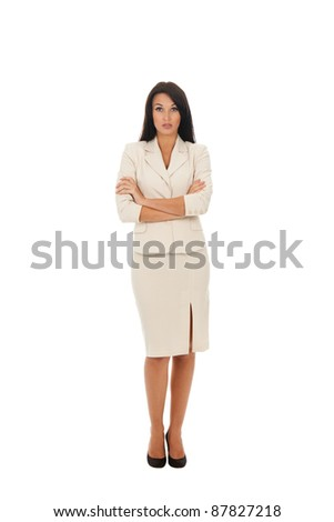 business woman standing with folded hands full length portrait. Isolated over white background