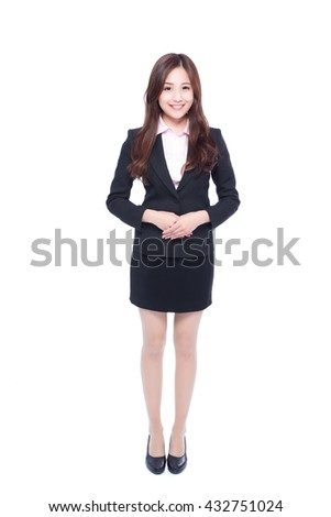 business woman stands in full length,asia beauty