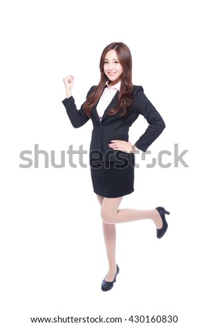 business woman stands in full length,makes a fist,asia beauty - stock photo