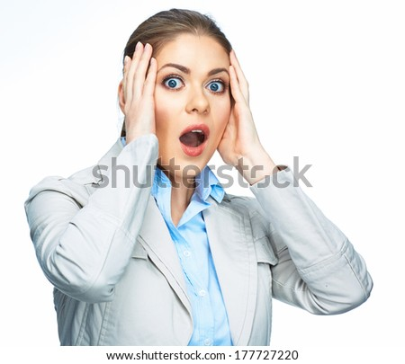 Business woman stressed portrait. Isolated white background. - stock photo