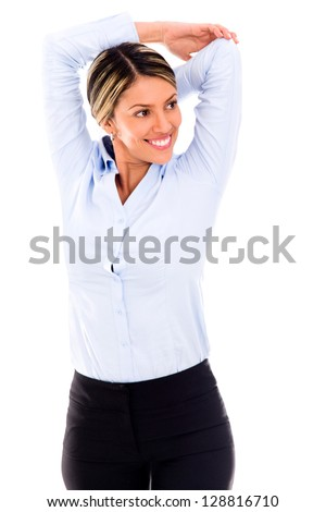 Business woman stretching her arm and smiling - isolated over white - stock photo