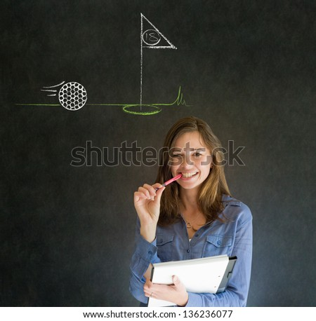Business woman, student or teacher with thought thinking of golf chalk cloud on blackboard background
