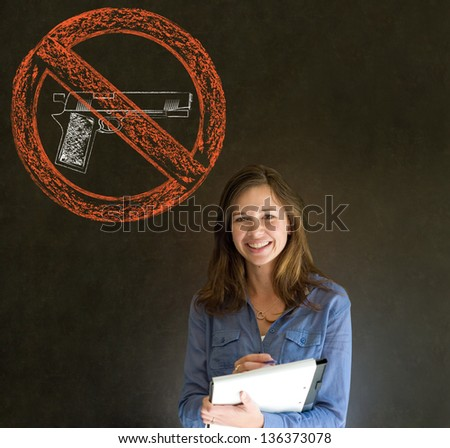 Business woman, student, teacher or politician no guns pacifist thought thinking chalk cloud on blackboard background - stock photo