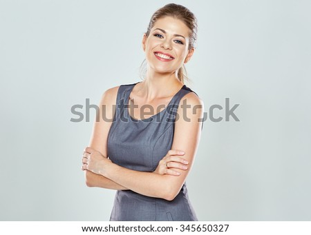 Business woman studio isolated portrait. Confident modern woman. Crossed arms.