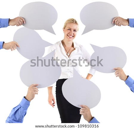 Business woman surrounded by speech bubbles