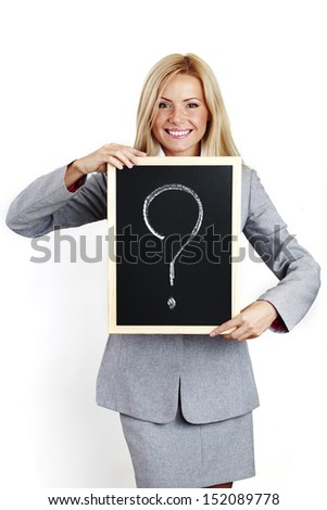 business woman take question sign in hands - stock photo