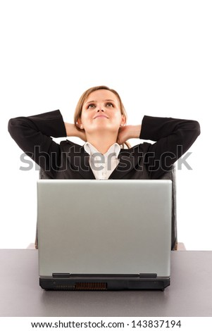 Business woman taking a break and relaxing with her hands behind her head and sitting on an office chair over white - stock photo