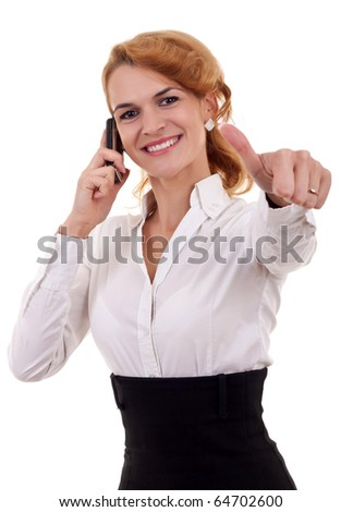 Business woman talking by cell phone and making OK sign