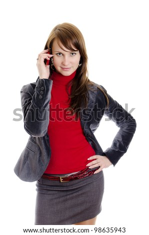 Business woman talking by mobile phone. Isolated on white.