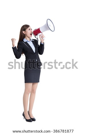 business woman talking in megaphone in full length isolated on white background, asian