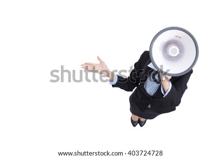 business woman talking in megaphone with white background, great for your design,  high angle view,asian