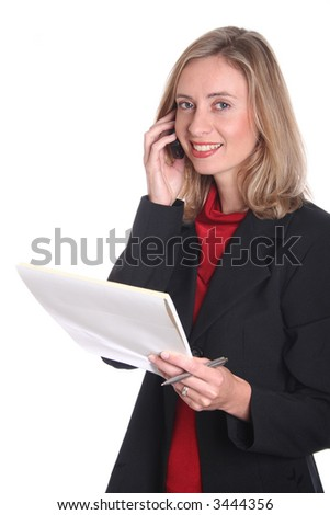 Business woman talking on phone with notepad in hand. Isolated