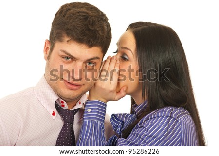 Business woman telling a secret to his colleague  man isolated on white background
