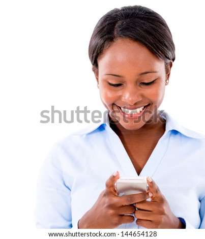 Business woman texting on her mobile phone - isolated over white - stock photo