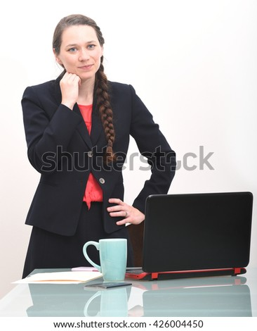 Business woman thinking about a decision - stock photo