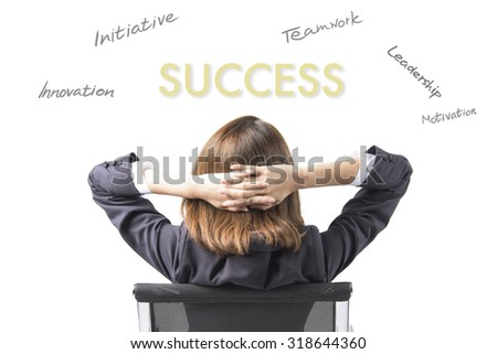 Business Woman Thinking About Success and Achievement - stock photo