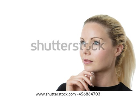 business woman thinking shot in the studio on white background