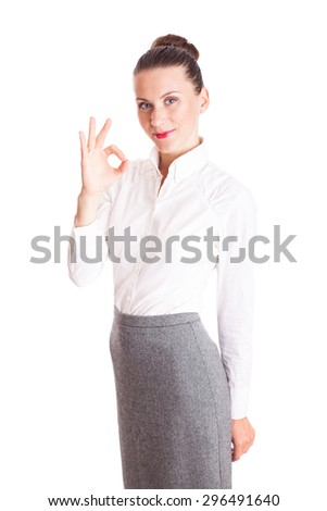 Business woman thumb up gesture, smile business woman, isolated on white background - stock photo
