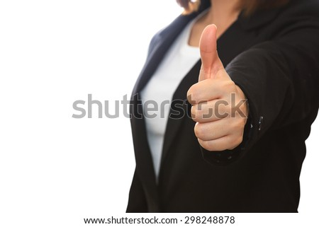business woman thumb up show. isolated white background - stock photo