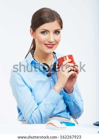 Business woman time out concept, red coffee cup. Break the working day. female business model at office.