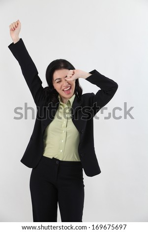 business woman tired and yawning
