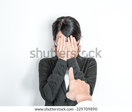 Business woman to be blamed - stock photo