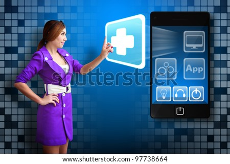 Business woman touch First Aid icon from mobile phone - stock photo