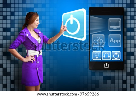 Business woman touch Power icon from mobile phone