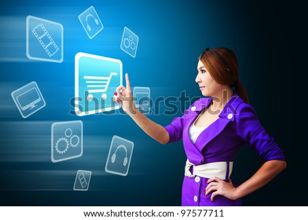 Business woman touch the Cart icon