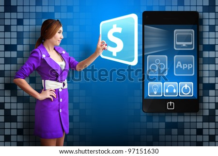 Business woman touch the Money icon from mobile phone - stock photo