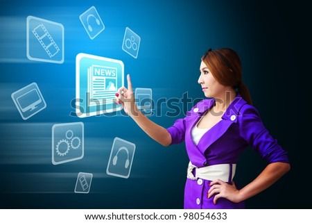 Business woman touch The News icon