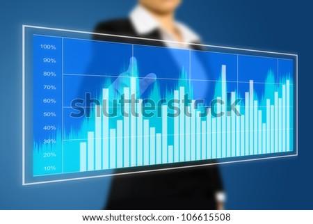business woman touch virtual chart - stock photo