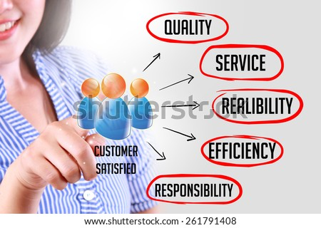 business woman touching customer service concept. With how to make customer satisfied - stock photo