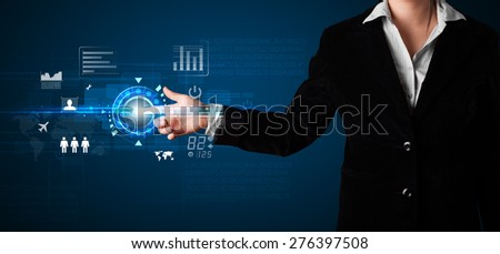 Business woman touching future web technology buttons and icons  - stock photo
