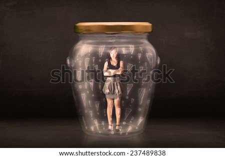 Business woman trapped in jar with exclamation marks concept on bakcground - stock photo