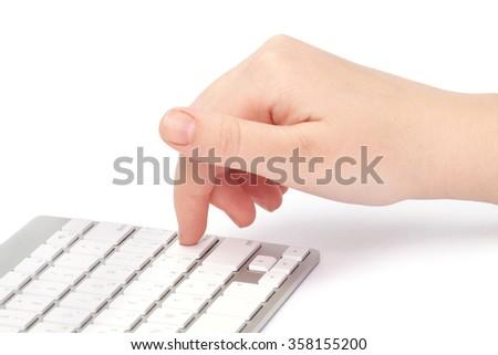 Business woman typing on keyboard. Shallow dof. - stock photo