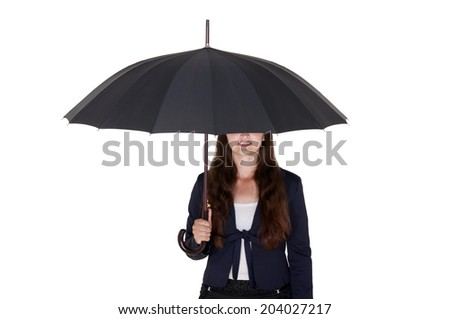 business woman under a black umbrella on a white background