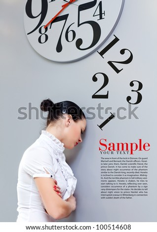 Business Woman under the clock. Concept - stock photo