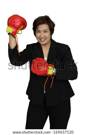 Business woman upholster shown victory shake their fists. - stock photo