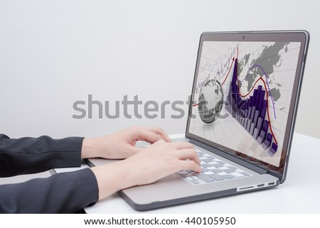 "business woman use computer with ""rise arrow with graph"" presentation"