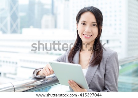 Business woman use of tablet pc - stock photo