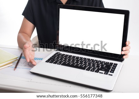 business woman using computer on the office table