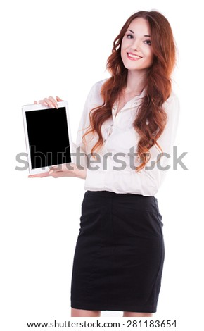 Business woman using digital tablet computer PC, happy isolated on white background.  - stock photo