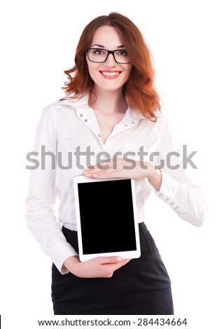 Business woman using digital tablet computer PC, smiling isolated on white background.  - stock photo