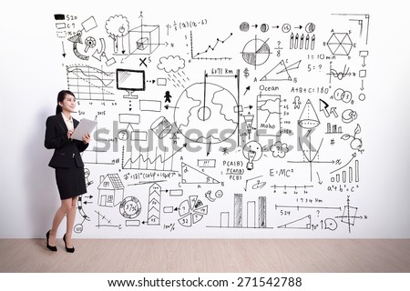 business woman using digital tablet pc computer with hand drawing infographic background, asian - stock photo