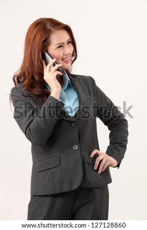 business woman using mobile phone - stock photo