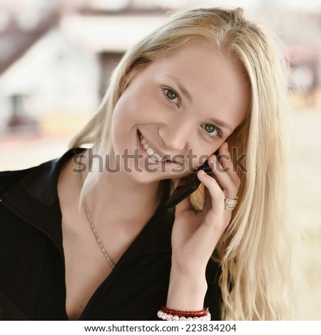 business woman using mobile smart phone  - stock photo